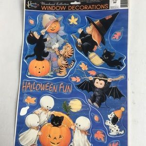 Vintage Halloween witch window clings